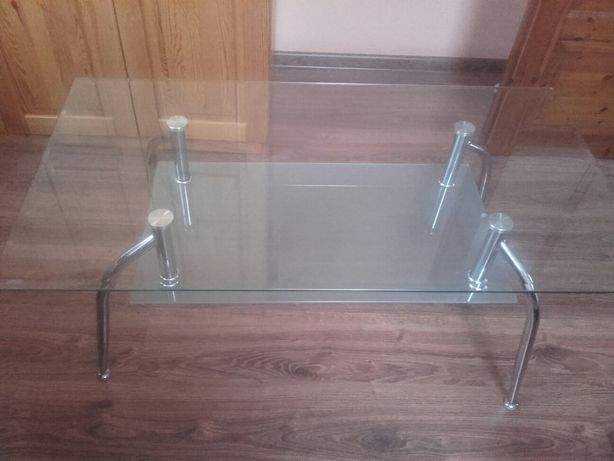 Stolik szklany z półką