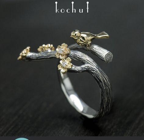 """Каблучка """"Пташка і квіти"""" Кочут Kochut , новое золотое кольцо"""