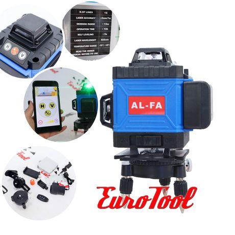 Профессиональный лазерный уровень 4D нивелир AL-FA ALNL-4DG 12 линий