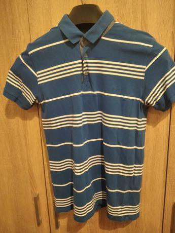 Niebieska koszulka Polo w białe paski r. M