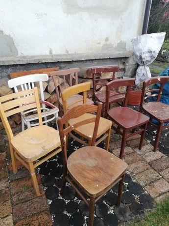 Krzeslo drewniane vintage PRL