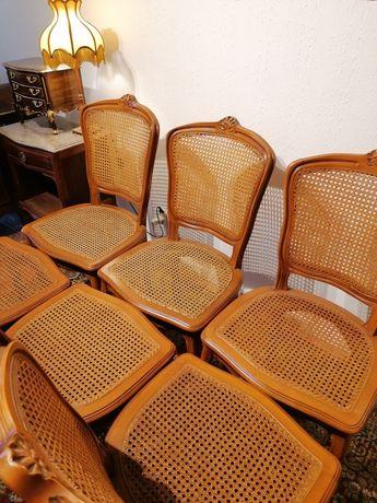 Conjunto 6 seis Cadeiras estilo Inglês, em palhinha  madeira entalhada