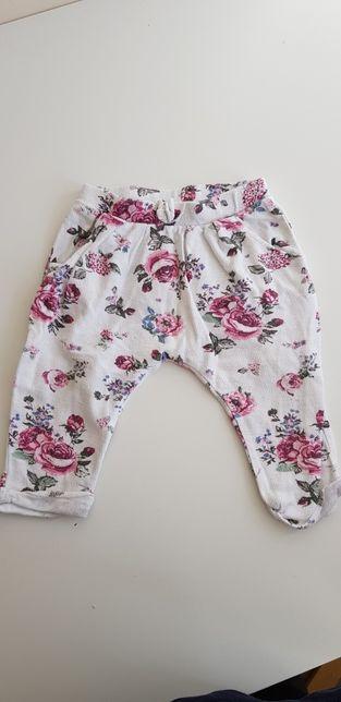 Spodnie w kwiaty dla dziewczynki. Rozmiar 74 cm, czyli 6-9 miesięcy
