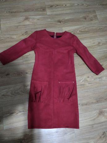 Платье,сукня замшевое бордовое