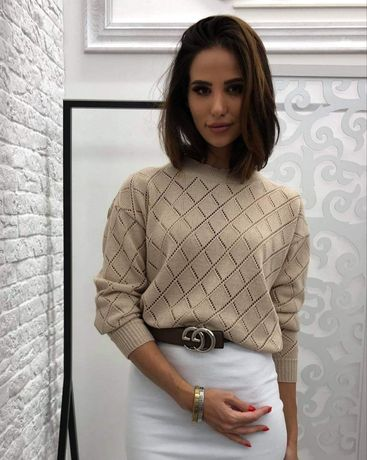 Sweterek ażurowy w romby Nowy