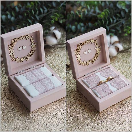 Pudełko na obrączki Skrzynka na koperty PUDROWY RÓŻ zestawy szkatułki