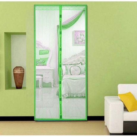 Москитная сетка штора на магнитах Magic Mesh 100*210 см Зелёная