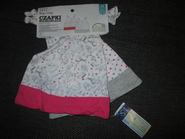 Nowe czapeczki niemowlęce bawełniane r.74