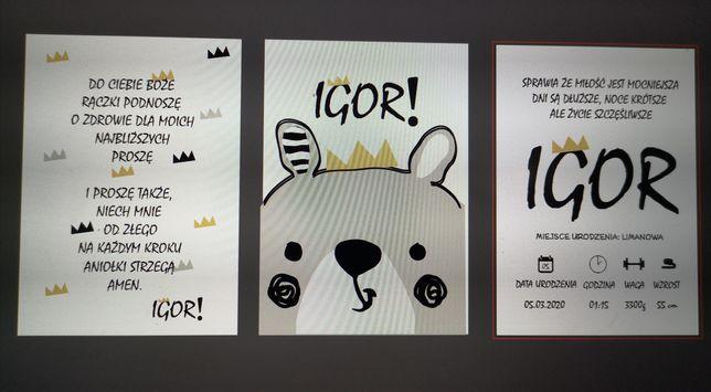 Metryczka plakaty do pokoju dla dzieci grafiki