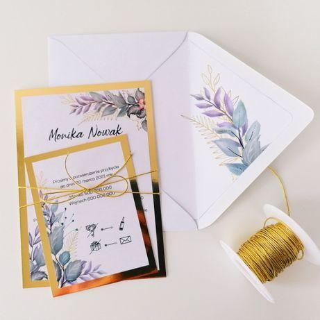 Zaproszenia ślubne w stylu GLAMOUR fiolety odcienie fioletu