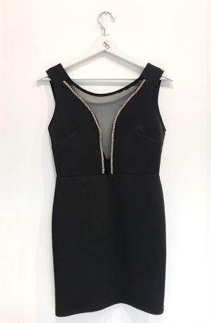 Sukienka czarna dekolt cyrkonie 34/36