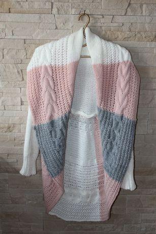 Sweter długi pleciony warkocz