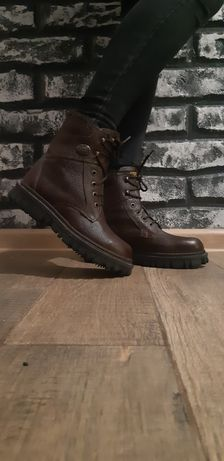 Кожаные ботинки  зима сапоги
