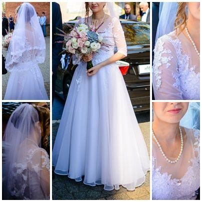 Suknia ślubna, walon i buty ( komplet )