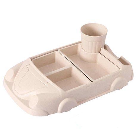 Детская бамбуковая посуда Машинка, набор из 2-х тарелок и чашки