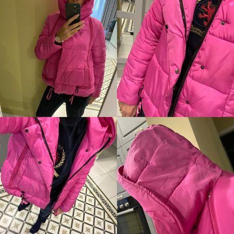 Розовый пуховик S, M