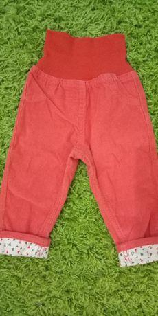 Nowe spodnie sztruksowe Lupilu czerwone 74