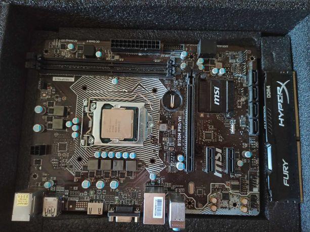 Материнская плата MSI B150M PRO-VH с установленным i3-6100 и 8гб DDR4