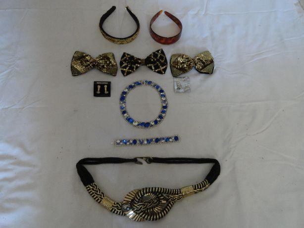 bandolete pulseira laços brincos colar e cinto