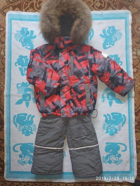 Зимний костюм с полукомбинезоном 98+6