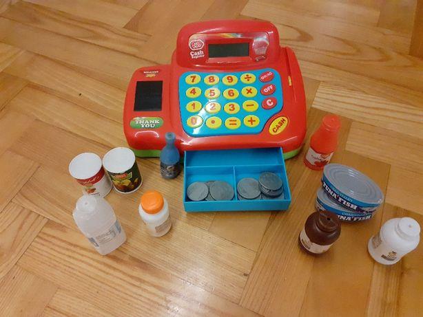 sprzedam używaną kasę fiskalną zabawkę plus akcesoria