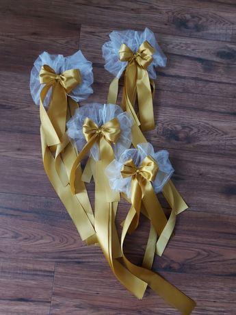 Złote  złoto Kokardy do dekoracji samochodu klamek na ślub wesele