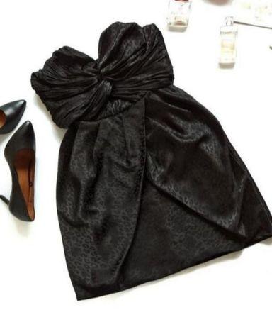 Роскошное вечернее черное платье в принт лео от h&m size 42
