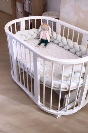 Дитяче ліжечко НАБІР Ovalbed, детская кроватка, круглая кроватка 9 в 1