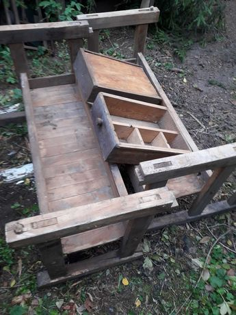 Dwa drewniane stoły stolarskie, strugnice drzewo dębowe Stan b. dobry