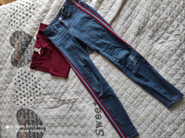 Spodnie Sinsay rozm 36 oraz top H&M