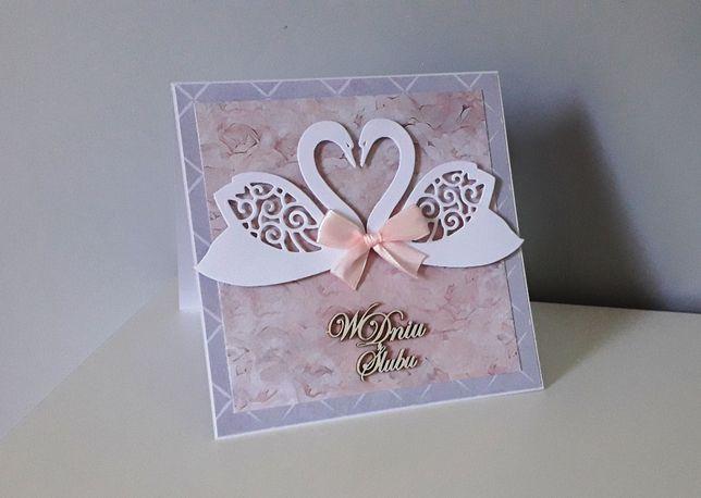 Kartka na Ślubna ręcznie robiona ślub łabędzie