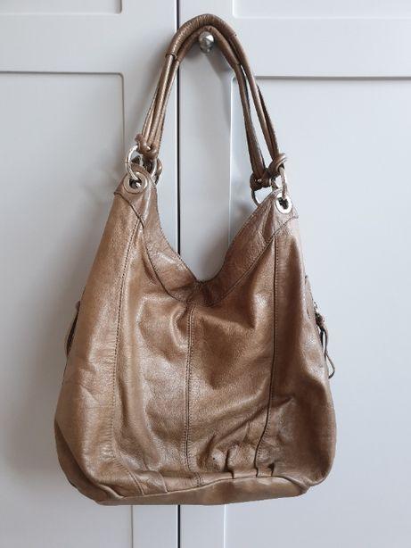 Skórzana torebka vintage dużo kieszonek beżowa włoska torba