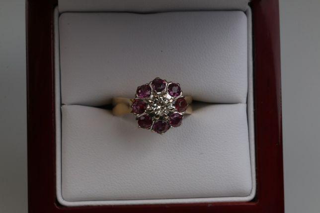 Złoty pierścionek rubiny diament pr 750 Wycena 14500zł lombard Łódź