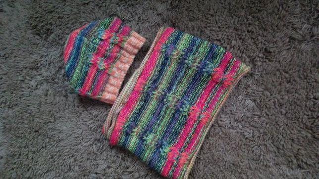 Шапка и шарф-хомут.Теплый комплект.