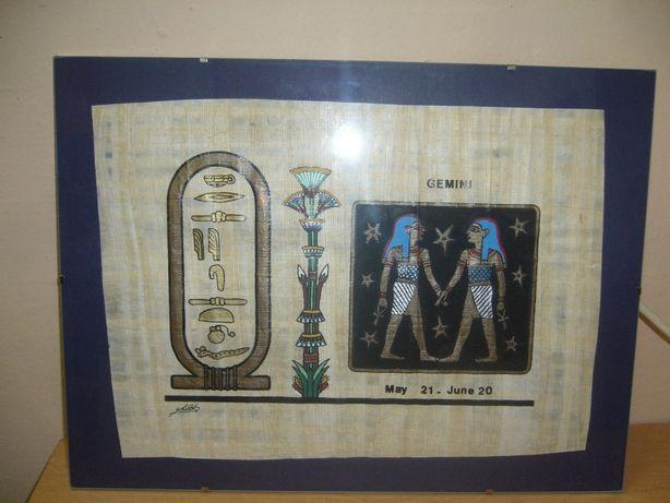 Papirus egipski oryginalny z imieniem Iwona + znak zodiaku.