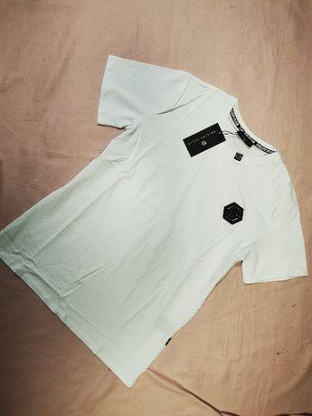 Koszulka męska biała znaczek Philipp Plein tshirt męski PP logowane