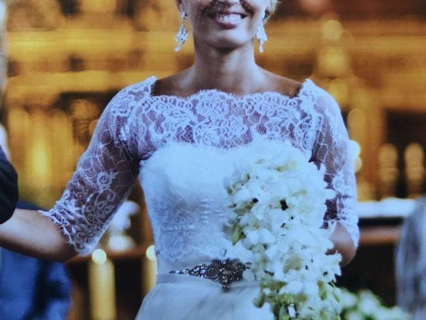 Piękne koronkowe Bolerko Ślubne czysta biel