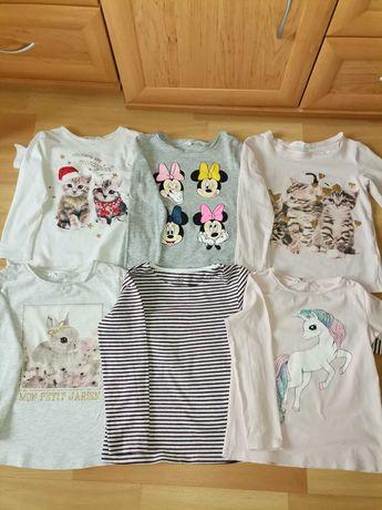 Bluzki H&M długi rękaw rozmiar 98/104 dziewczynka