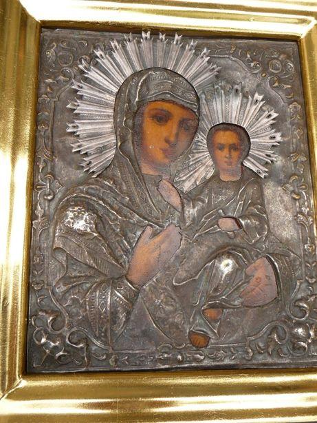 Икона Казанская, 19 век, латунь с серебрением