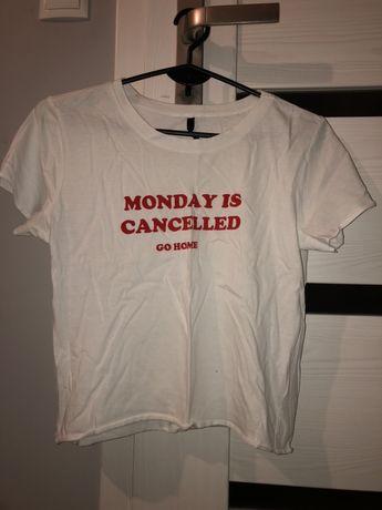 tshirt koszulka crop top monday sinsay biały