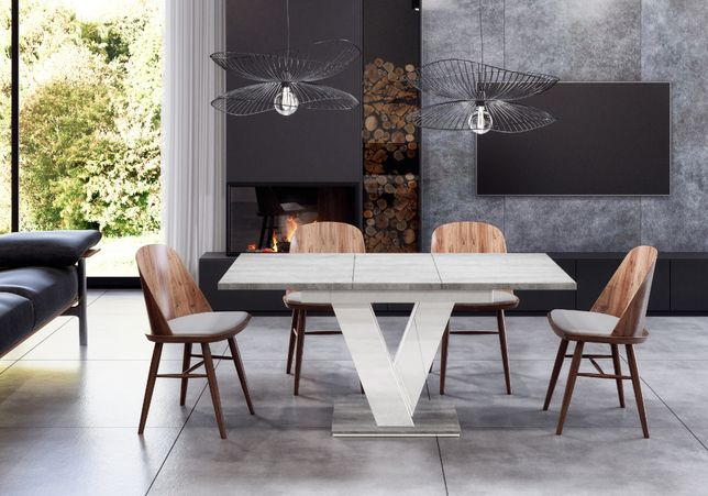 Stół rozkładany Biały Połysk / Beton 120-160 do Salonu Kuchni Jadalni