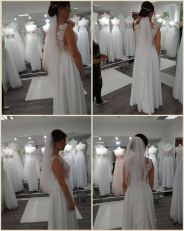 Welon ślubny Panna Młoda ślub wesele ivory śmietanka 85cm 60cm