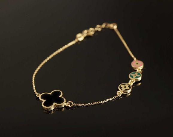 Złoto 585 - złoty bransoletka Celebrytka LV