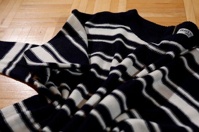 Sweterek w paski rozmiar M, dłuższy tył Brave Soul
