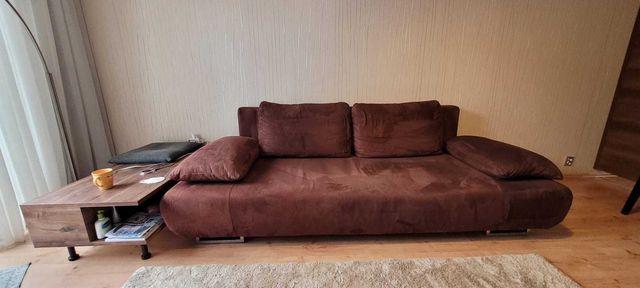 Sofa rozkladana brązowa