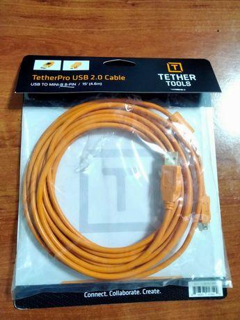 Tether Tools Cabo USB 2.0 4.5M MINI-B Laranja - NOVO