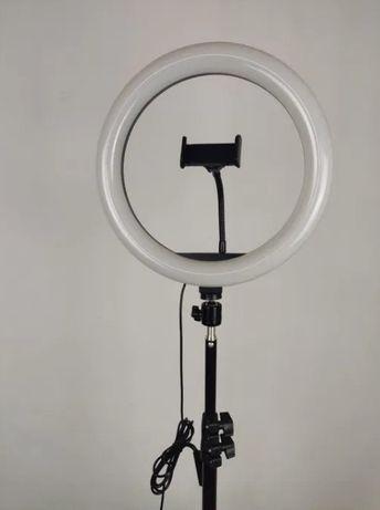 Лампа, мягкий свет / LED кольцевая + штатив. 3 режима, 11 уровней / се