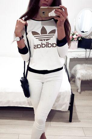 Biała bluza Adidas złote logo Xs S M