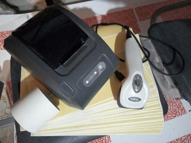 Термопринтер Xprinter + сканер штрих-кодов Cino