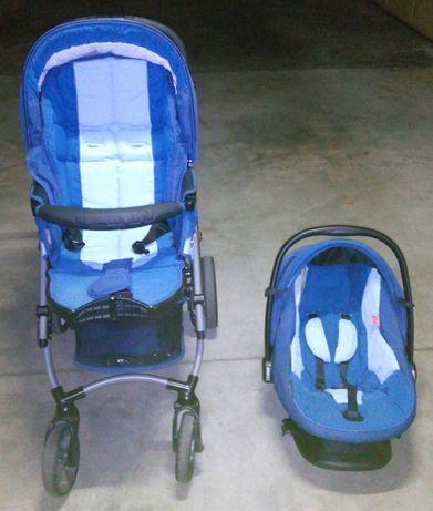 Carrinho Bebecar Duo: babycoque e cadeira de passeio com cobertura.